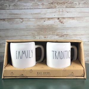 Rae Dunn Family Tradition Set of 2 Mugs
